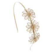 Claires Gold Mesh Flower Headband Girls Gold OneSize