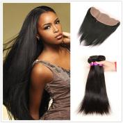 JiSheng Mink Brazilian Human Hair Bundles With Closure Ear To Ear Lace Frontal Closure 8A Unprocessed Straight Bundles Natural Colour
