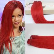 Romantic Angels 41cm 46cm 50cm 60cm Virgin Brazilian Human Hair Weft Straight Hair Weave Extensions Colour Red