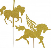 Gold Glitter Horses Cake Toppers