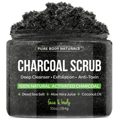 Charcoal Scrub with Coconut Oil - 300ml Facial Scrub, Pore Minimizer & Reduces Wrinkles, Acne Scars, Blackheads & Anti Cellulite Treatment, Great as Body Scrub, Body & Face Cleanser