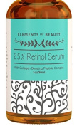 Elements of Beauty 2.5% Retinol Serum (Vitamin A) - Collagen Boosting Peptide Complex Firms Skin and Refines Appearance of Wrinkles for Anti-Ageing Skincare - With Hyaluronic Acid and Vitamin E - 30ml
