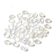 Neerupam Collection 6x4 mm size Natural African White Rainbow Moonstone AA Quality Faceted Oval Shape Loose gemstones