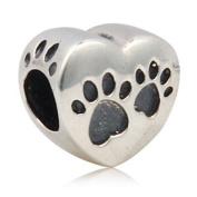 Dog Paw Charm 925 Sterling Silver Heart Charm Pet Charm for Pandora Bracelet
