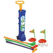 Deluxe Kid's Happy Golfer Toy Golf Set w/ 3 Golf Balls, 3 Types of Clubs, 2 Practise Holes, Perfect Golf Set for Children