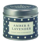 """The Country Candle Company Superstars Collection """"Amber and Lavender"""" Candle in Tin, Navy"""