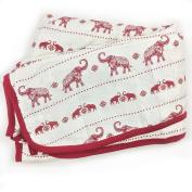 Bambino Land Big Bambino Bamboo Double Layer Muslin Blanket - Red Elephants