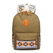 Anshinto Women Girl Canvas Shoulder School Bag Backpack & Crossbody Tote Bag & Clutch Purse