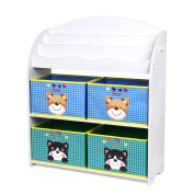 HOMFA Children Storage Unit with 3 Tier Bookshelves and 4 Non-woven Fabric Boxes