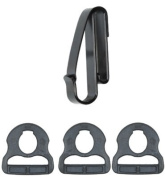 TUFF Products Quick Hook System 1 Clip On Snap Hook, 3 Notched Polymer Rings, Black