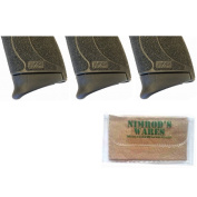 3-Pack Pearce Grip S & W M & P Shield 45 .45ACP Extension PG-MPS45 + Nimrod's Wares Microfiber Cloth