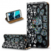 iPhone 7 Plus Case,iPhone 7 Plus Cover,ikasus 3D Painted Embossed Premium PU Leather Fold Wallet Pouch Case Flip Stand Credit Card ID Holders Case Cover for iPhone 7 Plus (14cm ),Skeleton Skull