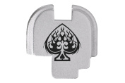 Ace of Spades Flames Engraved Silver Rear Slide Cover Plate For Springfield Armoury XDs 9mm .40 .45acp -SINGLE STACK ONLY- By NDZ Performance
