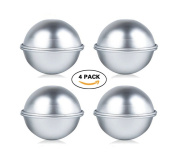 Niviy 4 Set Metal Bath Bomb Moulds Fizzies Soap Bombs Moulds Cake Pan Moulds 6.6cm Stainless Steel Moulds(8 Peices) for DIY Crafting/Cake Pan Moulds/Bath Fizzies
