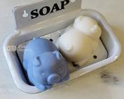 SoapRepublic 3D Design Sleeping Pig Silicone Soap Mould + 1 free soap stamp