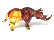 MINIATURE RHINO RHINOCEROS GLASS BLOWN CLEAR GLASS ART RHINO FIGURINE ANIMALS COLLECTION