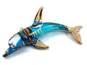 TINY CRYSTAL DOLPHIN GLASS BLOWN CLEAR GLASS ART DOLPHIN FIGURINE ANIMALS COLLECTION HAND BLOWN