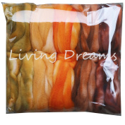 SUPERWASH MERINO Hand Dyed SPINNING fibre Super soft Wool Top Roving drafted for Hand Spinning Machine Washable Yarns. 5 beautifully coloured Mini Skeins DISCOUNT PACK Harvest