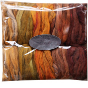 HAND DYED Merino Tencel SPINNING fibre. Super Soft Wool Top Roving drafted for Hand Spinning, Felting, Blending and Weaving. 5 beautifully coloured Mini Skeins DISCOUNT PACK, Harvest