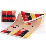 NPlusEins Pack of Price Pack Cotton Cherry Cat 35 x 75 cm Terry Towel Hand Towel Face Cloth, brown, 1er/Pack