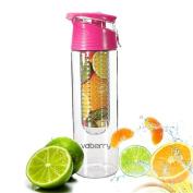 Voberry 800 Millilitre Pink Fruit Infusing Water Bottle with Fruit Infuser and Flip Lid Lemon Juice Make Bottle