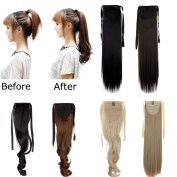 FUT 3-5 . 60cm 100g Straight Binding Ponytail Clip in Pony Tial Hair Extensions One Piece Wrap Around Ponytail for Girl Lady Women Medium Brown