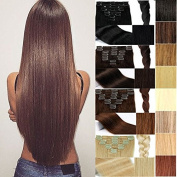 FUT 3-5 . 60cm 80g Straight Full Head Grade 7a 100 Percent Human Hair Pieces Extensions 18 Clips in 8 PCS for Girl Lady Women Dark Brown