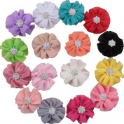 Deercon 16 Colours Shining Rhinestone Soft Chiffon Fabric Hair Bows Clips for Newborn Kids Adults Women