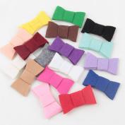 Deercon 17 Colours Simple Hair Bows Clips Shower Barrettes for Girls Babies Kids Children Women