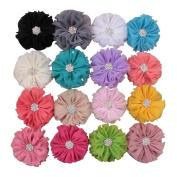 Deercon 16 Colours Little Girls Baby Kids Children Vintage Chiffon Shabby Flower Clips