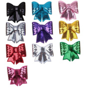 Deercon 10 Colours Shining Sequins Big Hair Bows with Alligator Clips for Girls