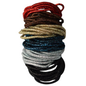 Bzybel 15 colours Thick Solid Stretch No-damage Pony Elastics Ponytail Holders Hair Ties for Girls Women Ladies