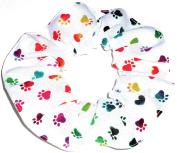 Tie Dye Dog Paw Print Hair Scrunchies Set of 2 Ponytail Holders Rainbow Handmade by Scrunchies by Sherry