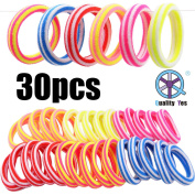 QY 30PCS Bright Colour High Super Elasticity Elastic Bands Strong Seamless Elastic Hair Tie Stripe Pattern