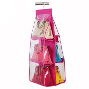 Academyus Hanging Storage Handbag Organiser Wardrobe Closet Bag Hanger -Rose Red