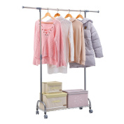 Excelvan XM-129S Adjustable Commercial Grade Rolling Garment Rack Clothing Storage Organisation Drying Hanging Rack Portable Wardrobe with Bottom Mesh Shelf and Omni Directional Wheels