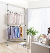 Asunflower 2-Tier Free Standing Garment/Clothes Racks, Adjustable Clothing Poles Hanger with Wire Shelf Portable Wardrobe - Ivory