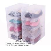 7 Pcs Foldable Clear Shoe Box Plastic Shoe Storage Containers Shoes Closet Organisation