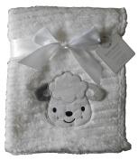 Baby Boys Girls Cute Fluffy Ribbed White Sheep Blanket Wrap 100cm x 75cm approx