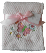 Baby Girls Beautiful Pink Butterfly and Flowers Blanket Wrap 100cm x 75cm approx