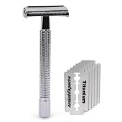 Double Edge 10cm Long Handle Safety Razor Twist Butterfly Open Shinning Finish