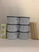 Satin Smooth Zinc Oxide Wax 6 Pack + Free 100 pc Muslin Strips & 50 Large Applicator Sticks $12 Value