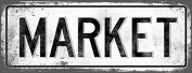 MARKET Metal Street Sign, Vintage, Retro