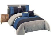 YOUSA 3-Piece Striped Bedding Set Fashion Men's Boys Bedding Blue Queen