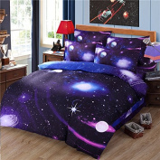 Cliab Galaxy Bedding Twin Size Purple Blue for Girls Kids Boys Outer Space Duvet Cover Set 5 Pieces