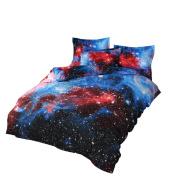 YOUSA Shining Stars Bedding Set Mysterious Galaxy Duvet Cover Set Full