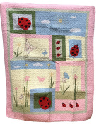 Quilts For Girls, Patchwork Quilt Style with Appliques, White Reverse, 100% Cotton, 61 x 50, Ladybug Theme
