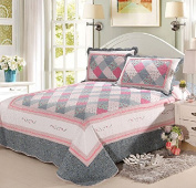 Newrara Pink and Grey Chequered Flower Patchwork Cotton Quilt Bedding Set 3pcs