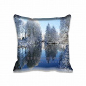 41cm x 41cm Pillow Protector Frozen Trees Reflected In Water Throw Decorarive Pillow Cover