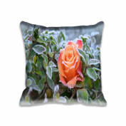 (2 Sides)41cm x 41cm Square Frozen Rose Fancy Design Pillow Cover & Throw Pillow Cushion With Zipper